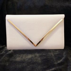 Aldo Bernell White Faux Leather Envelope Clutch